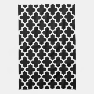 Black & White Modern Moroccan Pattern Kitchen Towel