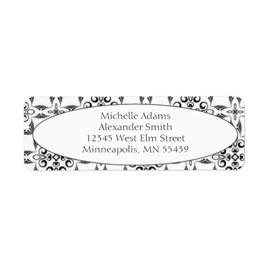 Black & White Modern Pattern Return Address Labels