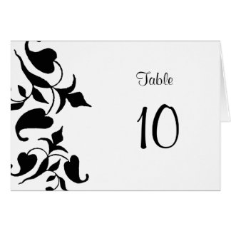 Black & White Modern Placement Table Number Cards