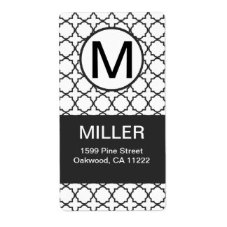 Black & White Modern Quatrefoil Monogram Address