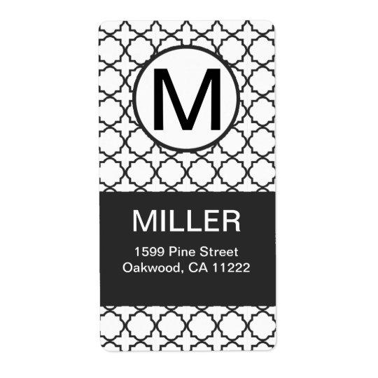 Black & White Modern Quatrefoil Monogram Address Shipping Label