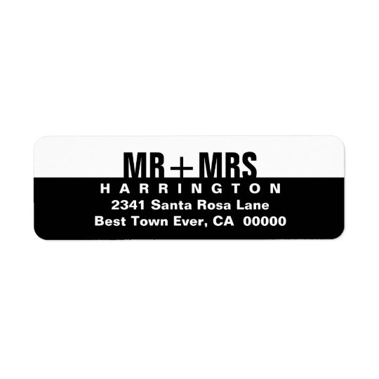 Black White Modern Simple MR and MRS Return Address Label
