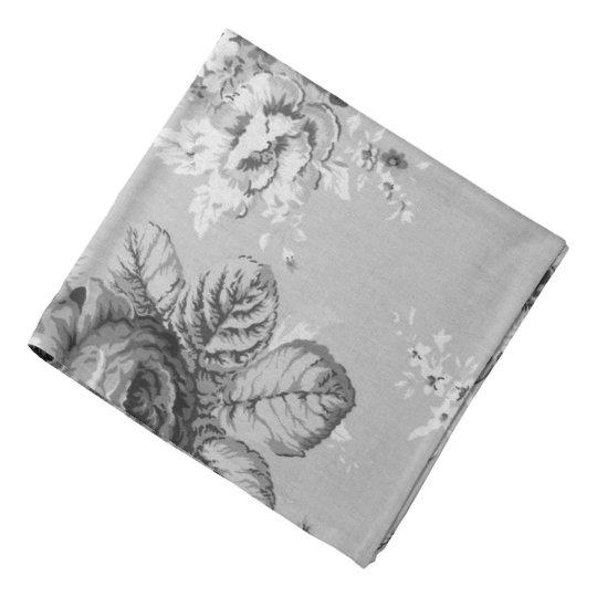 Black & White Modern Vintage Floral Toile Hanky Bandana