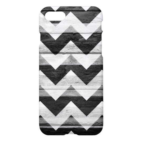 Black White Modern Wood Chevron Pattern iPhone 7 Case