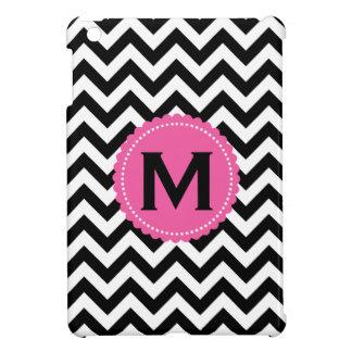 Black White Monogram Chevron Pattern iPad Mini Case