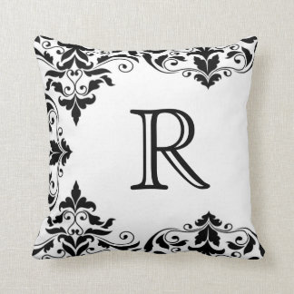 Black & White Monogram Damask Pillow