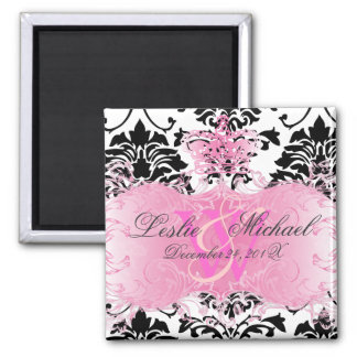 Black + White Monogram Damask Wedding, Magnets