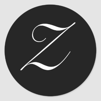 "Black & White Monogram Initial Seal ""Z"""