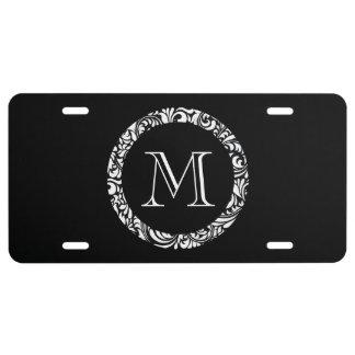 Black & White Monogram License Plate