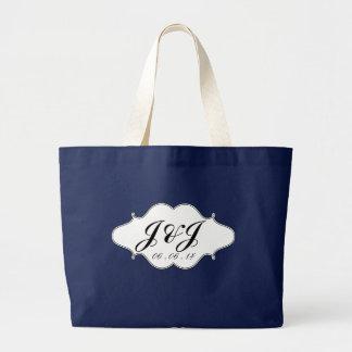 Black White Monogram Logo Wedding DateTote Bag