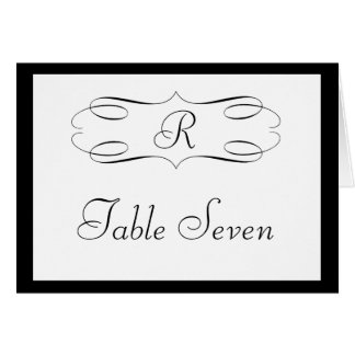 Black White Monogram Table Seating Card