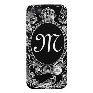 Black White Monogram Vintage Frame iPhone 5/5S Cover
