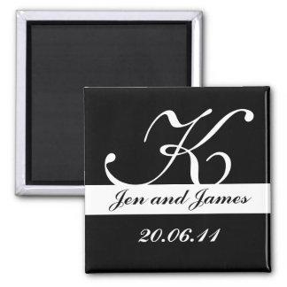 Black & White Monogram Wedding Save the Dates Square Magnet