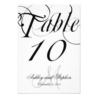 Black White Monogram Wedding Table Number Card