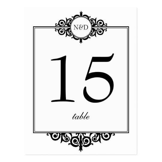Black white monogram wedding table number card postcard