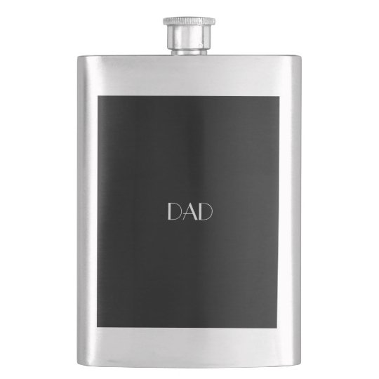Black White Monogrammed Initials DAD Typography Hip Flask