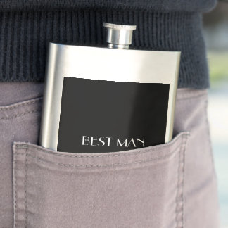 Black White Monogrammed Name Best Man Typography Flask