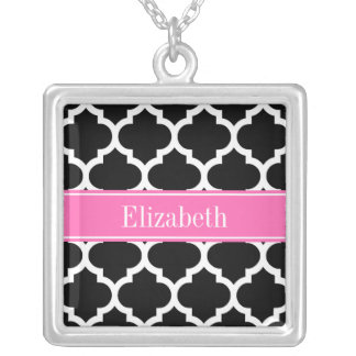 Black White Moroccan #5 Hot Pink #2 Name Monogram Square Pendant Necklace