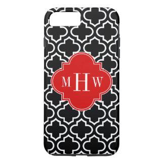 Black White Moroccan #6 Red 3 Initial Monogram iPhone 7 Plus Case