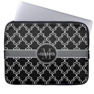 Black White Moroccan Quatrefoil Monogram Laptop Sleeve