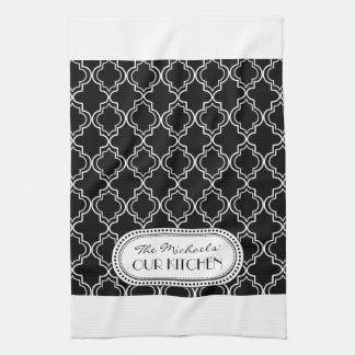 Black | White Moroccan Trellis Monogram Kitchen Towel