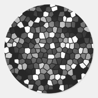Black & White Mosaic Classic Round Sticker