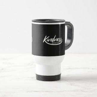 Black White Motivational Gift-Kindness always wins Travel Mug