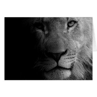 Black White Motivational Leadership Lion Portrait Card