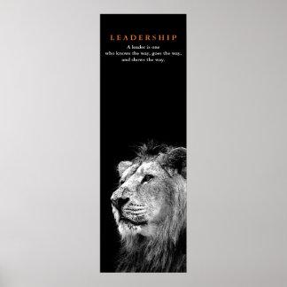 Black White Motivational Leadership Quote Lion Poster
