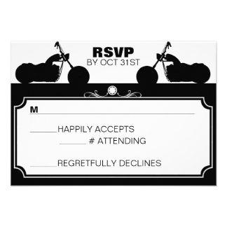 Black & White Motorcycle Biker Silhouette rsvp Invite