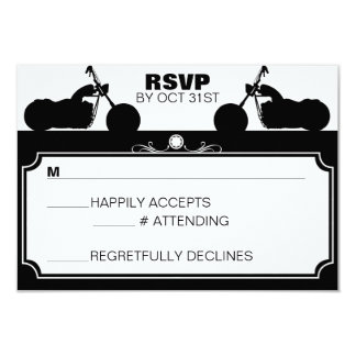 Black & White Motorcycle Biker Silhouette rsvp Invite