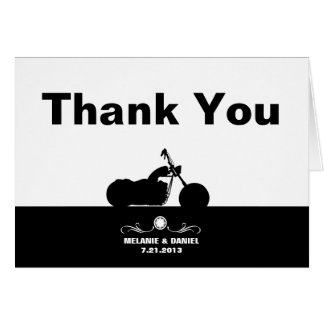 Black White Motorcycle Biker Silhouette Thank You Card