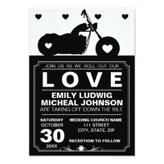 Black & White Motorcycle Biker Silhouette Wedding Card