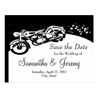 Black White Motorcycle Custom Wedding Save  Date Postcard