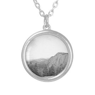 Black White Mountain Tree Southwest Scenery Silver Plated Necklace