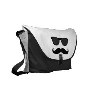Black White Moustache and Sunglasses Humor Messenger Bag