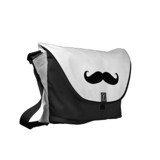 Black White Moustache Humor Commuter Bag