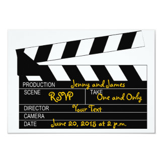 Black White Movie Theme Wedding RSVP Cards