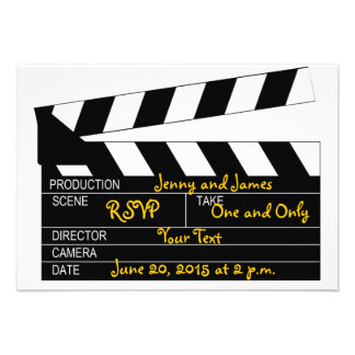 Black White Movie Theme Wedding RSVP Cards Custom Invitations