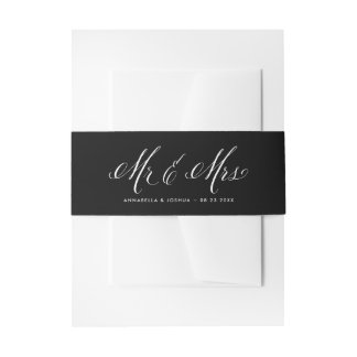 Black & White Mr. & Mrs. Elegant Script Wedding Invitation Belly Band