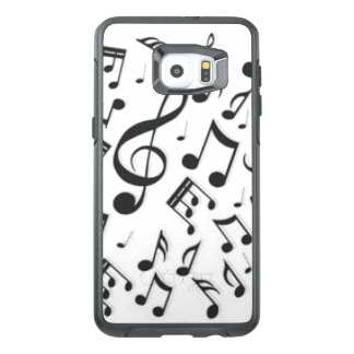 Black & White Music Notes Patter Print OtterBox Samsung Galaxy S6 Edge Plus Case
