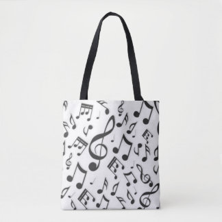Black & White Music Notes Patter Print Tote Bag