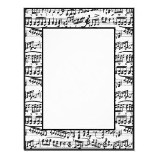 Black white music notes stationary paper