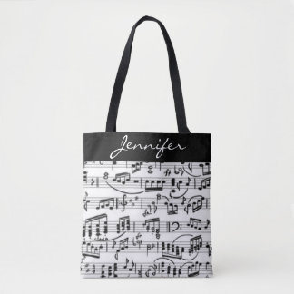 Black & White Music Notes Tote Bag