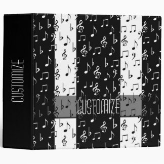 Black & White Musical Stripes Binder