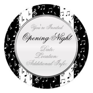 Black & White Musical Stripes Round Invitation 2
