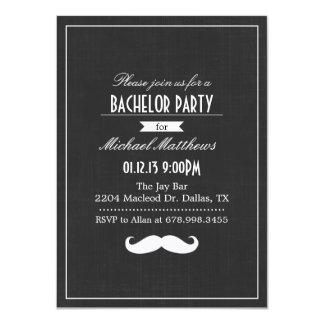Black & White Mustache Bachelor Party Invitation