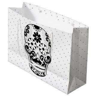 Black & White Mustache Sugar Skull Black Dots Large Gift Bag