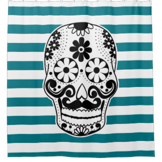Black & White Mustached Sugar Skull White Stripes