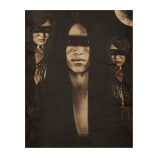 Black&White Native American Scene Wood Canvases
